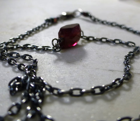 Oxidized serling silver pink tourmaline necklace