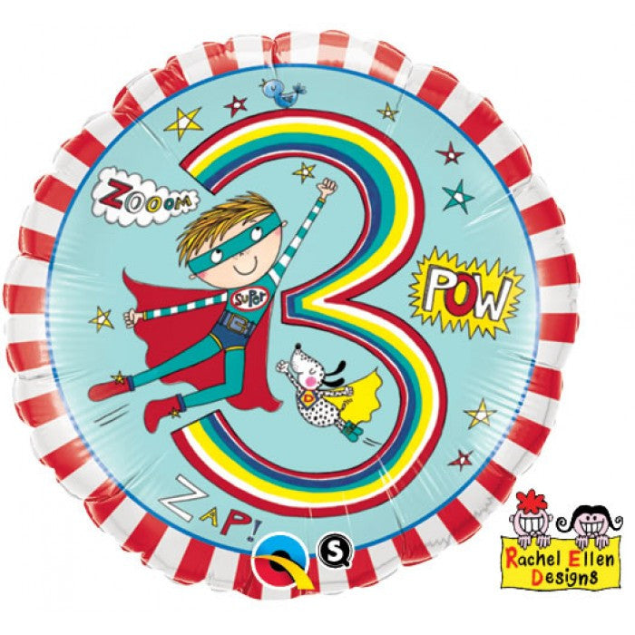 Age 3 Super Hero Stripes - 18""