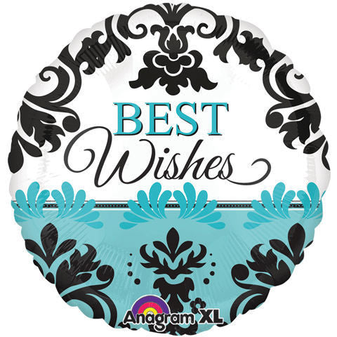 ColorBlast Teal Damask Best Wishes - 21""