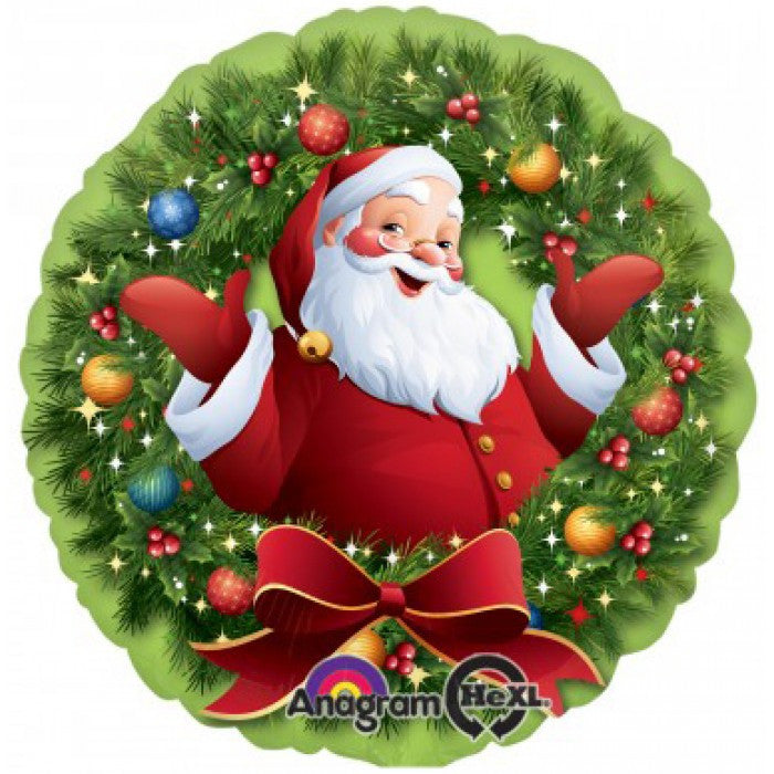 Jolly Santa in Wreath - 18""