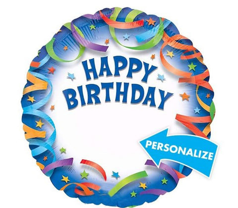 Happy Birthday Streamers Personalized - 18""
