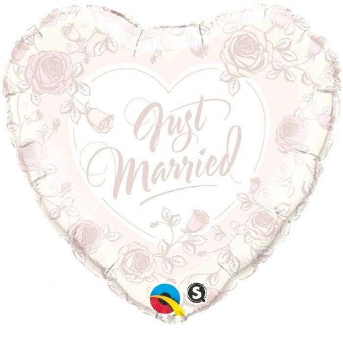 Just Married Roses Heart - 18""