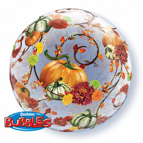 Autumn Floral and Pumpkins Bubble - 22""