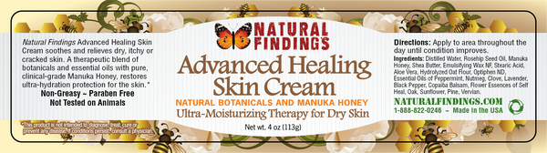 Natural Findings Advanced Healing Skin Cream Product Label
