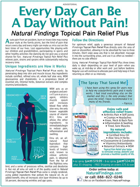 Natural Findings Topical Pain Relief Plus Advertorial