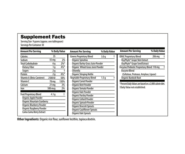 Natural Findings Green Powder Supplement Fact Label