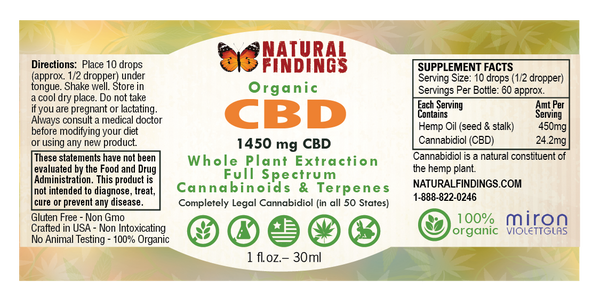 Organic CBD Oil from Natural Findings Label