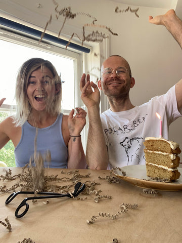 Bouclé founders Ben and Louise who started the company in Hackney, London