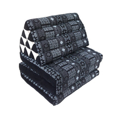 Thai Kapok 3 Fold Mattress with Triangle Cushion ~ Black Batik