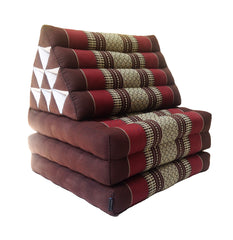 Thai Kapok 3 Fold Mattress with Triangle Cushion ~ Burgundy, Brown