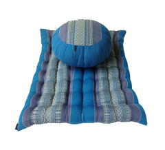 Thai Kapok Zafu and Zambutan Meditation Cushion Set (Blue)