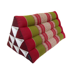 Thai Kapok Triangle Recliner Cushion ~ Green Burgundy