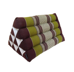 Thai Kapok Triangle Recliner Cushion ~ Green Brown