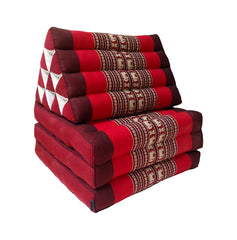 Thai Kapok 3 Fold Mattress with Triangle Cushion (Red with Elephants)