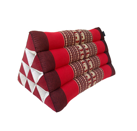 Thai Kapok Triangle Recliner Cushion ~ Red with Elephants