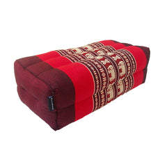Thai Kapok Yoga Block Support Cushion ~ Red with Elephants
