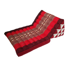 Thai Kapok 1 Fold Meditation Seat with Triangle Cushion ~ Red with Elephants