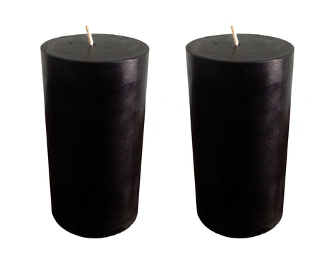 Black Pillar Candle size 10 x 5.5cm - Pack of 2