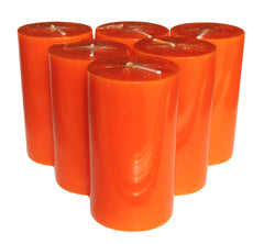 Orange Pillar Candle size 10 x 5.5cm - Pack of 6