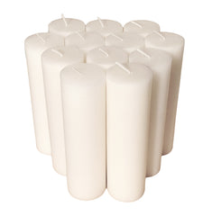 White Pillar Candle size 15 x 4.3cm - Pack of 12