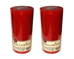 Red Pillar Candle size 15 x 7cm - Pack of 2