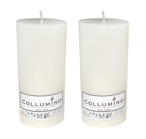 White Pillar Candle size 15 x 7cm - Pack of 2