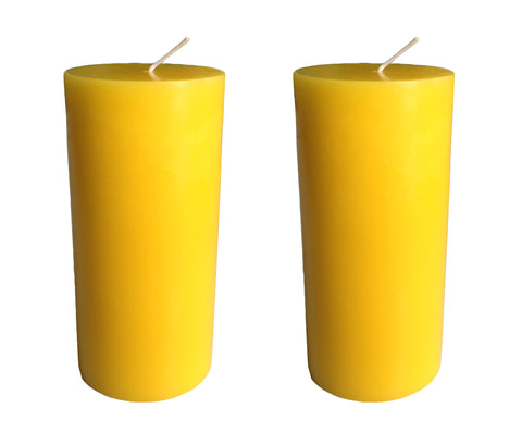 Yellow Pillar Candle size 15 x 7cm - Pack of 2