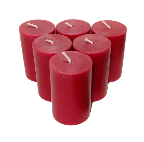 Burgundy Pillar Candle size 7 x 4.3cm - Pack of 6