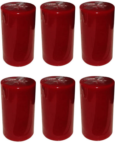 Wine Red Pillar Candle size 10 x 5.5cm - Pack of 6