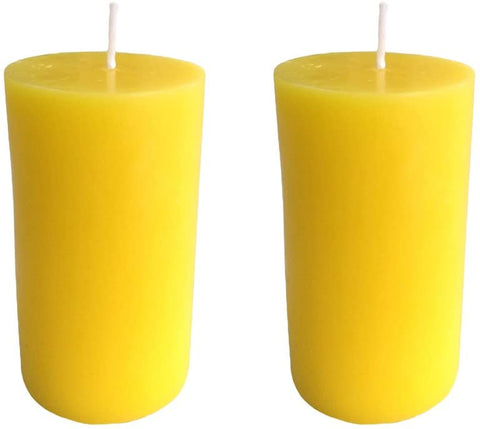 Yellow Pillar Candle size 10 x 5.5cm - Pack of 2