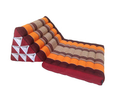 Thai Kapok 1 Fold Meditation Seat with Triangle Cushion ~ Orange Maroon