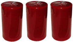 Wine Red Pillar Candle size 10 x 5.5cm - Pack of 3