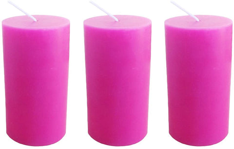 Hot Pink Pillar Candle size 10 x 5.5cm - Pack of 3