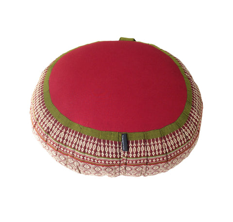 Thai Kapok Zafu Yoga Meditation Cushion B (Green Burgundy)