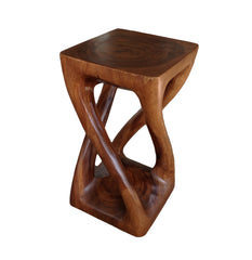 Wood Side Table - Square Top Stool - Vine Twist 20 inch - Caramel Brown