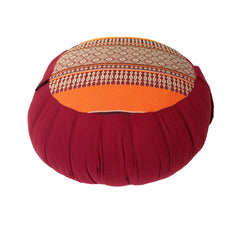 Thai Kapok Zafu Yoga Meditation Cushion A (Orange Maroon)