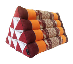 Thai Kapok Triangle Recliner Cushion ~ Orange Maroon