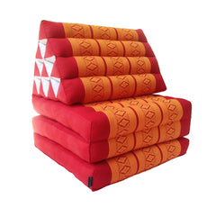 Thai Kapok 3 Fold Mattress with Triangle Cushion  (Orange Red)