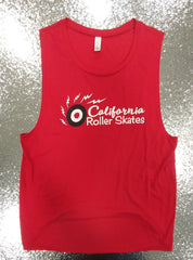California Roller Skates Muscle T-Shirt - Red Top - California Roller Skates