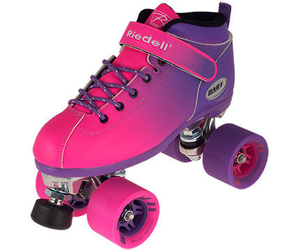 Riedell - Dart Ombré Roller Pink and Blue Skates and Ombré Black and Neon Green - California Roller Skates