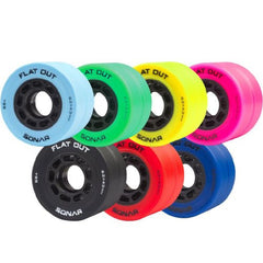 Riedell - Sonar Flat Out (8 pack) - Indoor Recreation Roller Skate Wheels - California Roller Skates