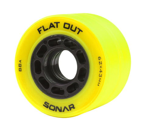 Riedell - Sonar Flat Out (4 pack) - Indoor Recreation Roller Skate Wheels - California Roller Skates