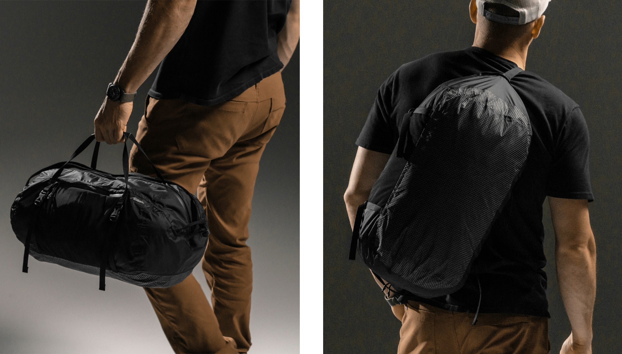 Two images: Man Holding duffle and man wearing duffle cross-body