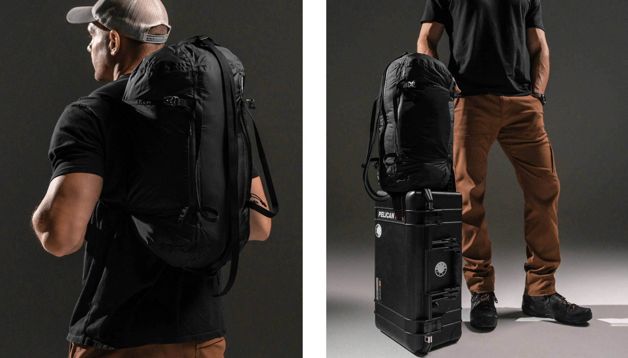 Two images: Man wearing duffle as backpack and man with duffle strapped to suitcase