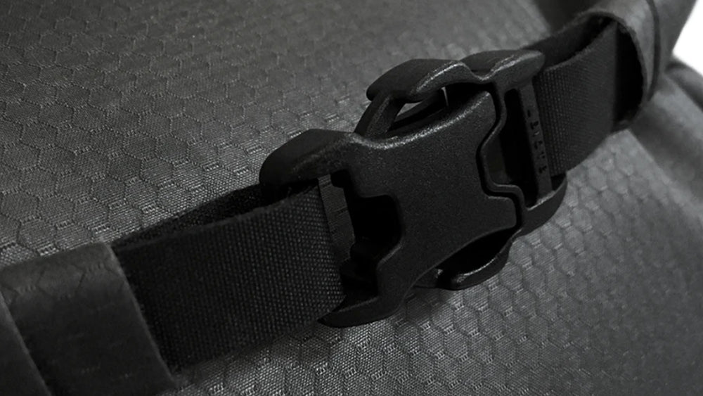 Close up view of rolltop buckle closure