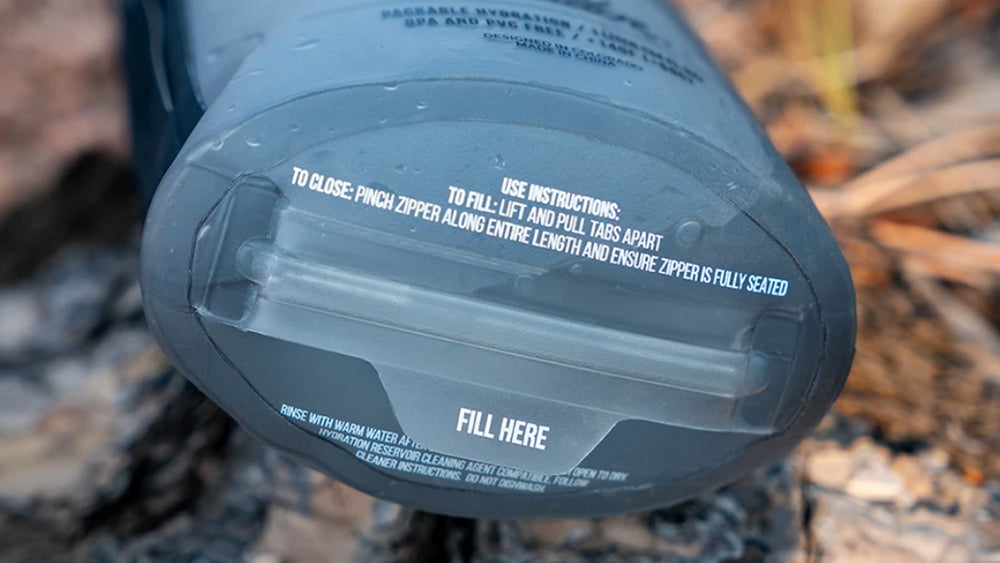 Close up view of bottom fill area of water bottle