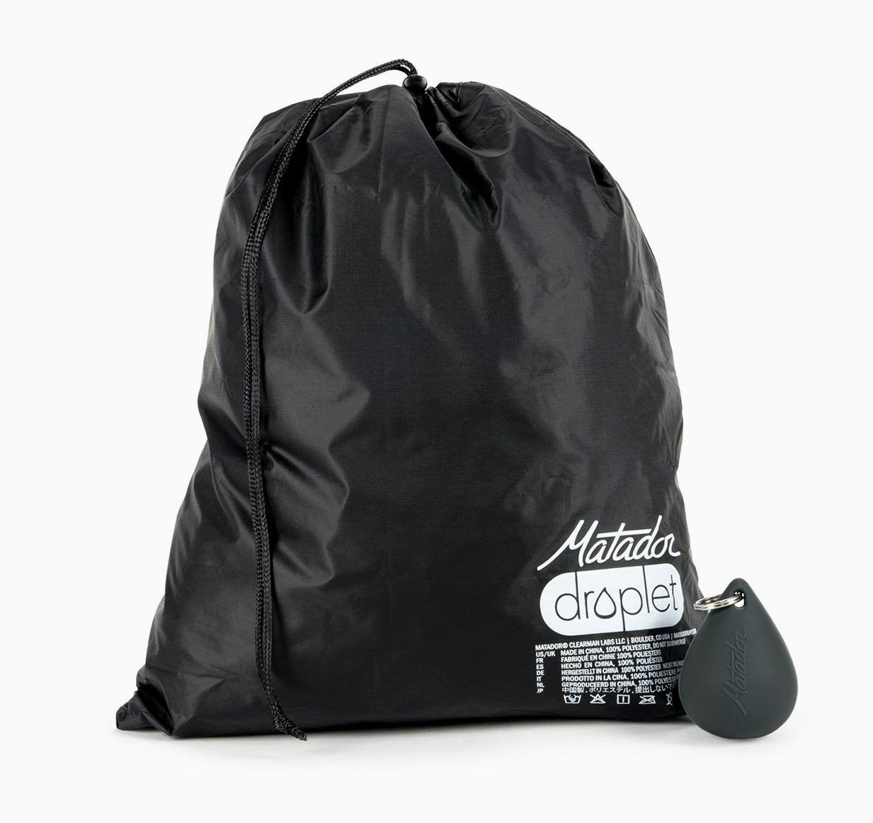Full black dry bag and silicone case on white background