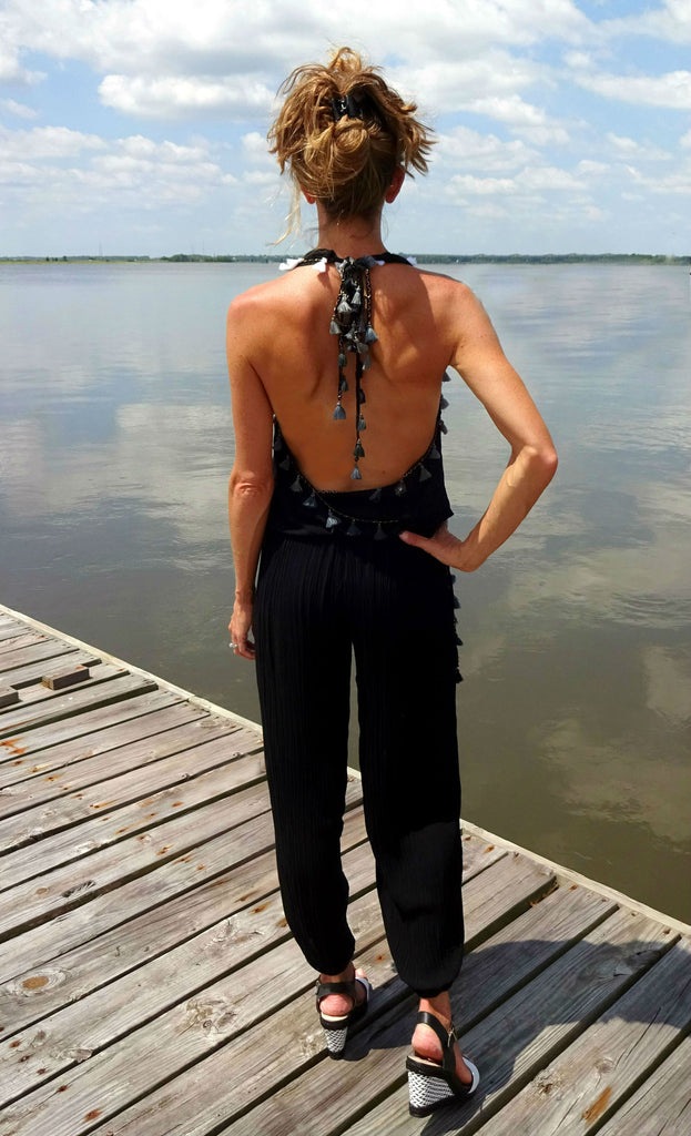 Open Back Pant with Tassles