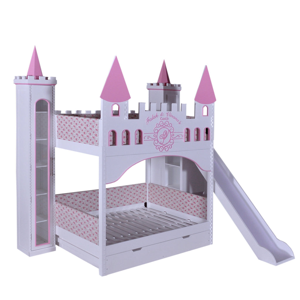 Castle Bunk Bed With Slide Trundle 3 Bookcases Castle Bed