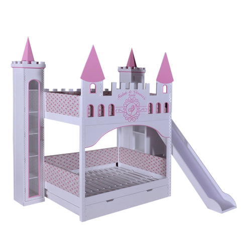 Castle Bunk Bed With Slide, Trundle & 3 Bookcases